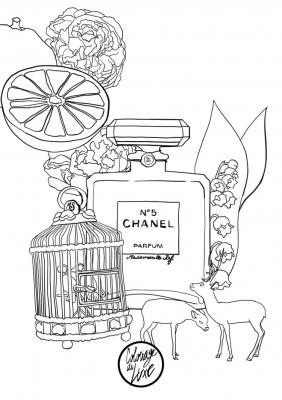 Coloriage mademoiselle stef chanel numero 5 low